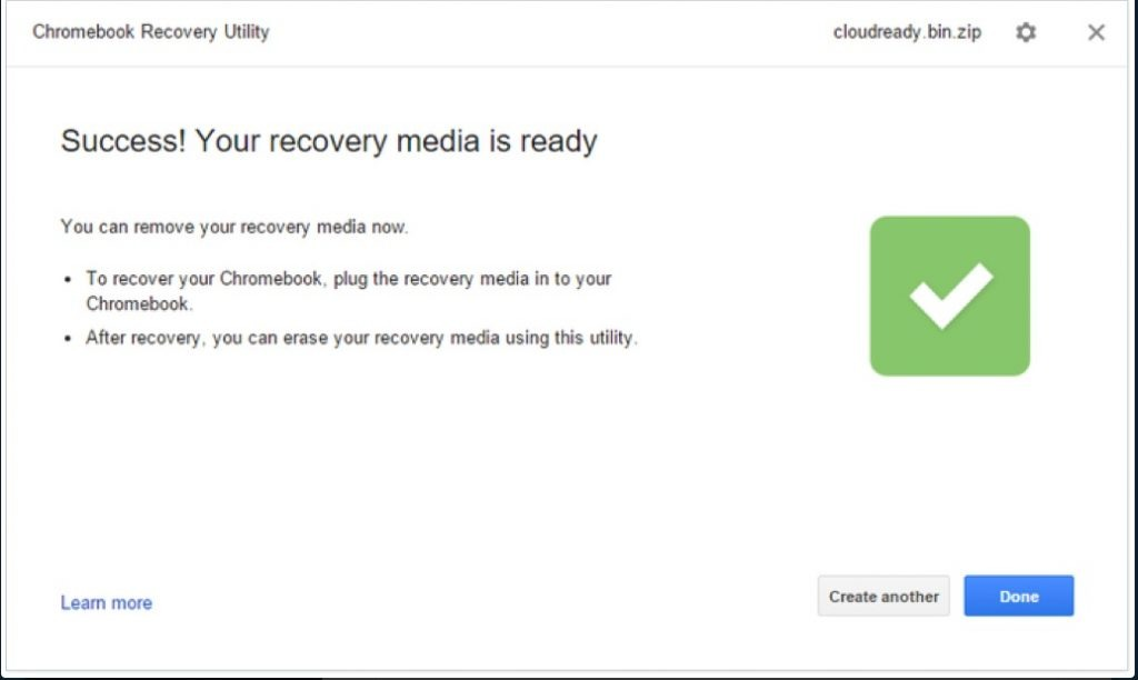 Chrome Recovery Utility Success