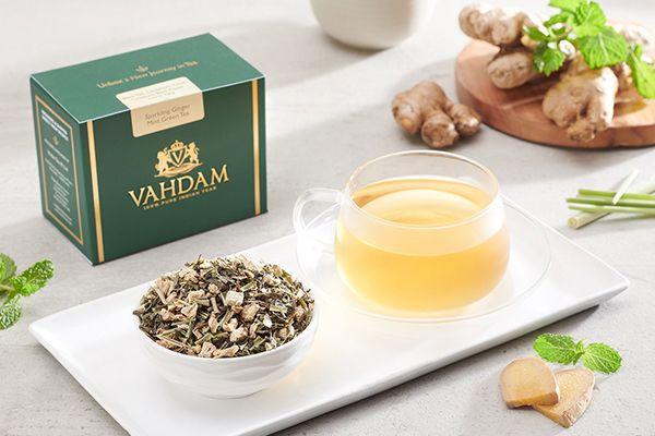 Thé vert au gingembre et à la menthe, de Vahdam