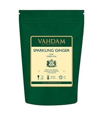 Thé vert au gingembre et à la menthe, de Vahdam (200 g)