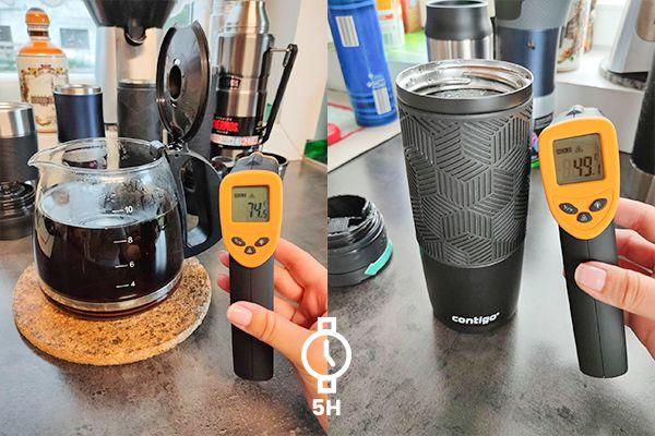 Prueba de conservación del calor con café.