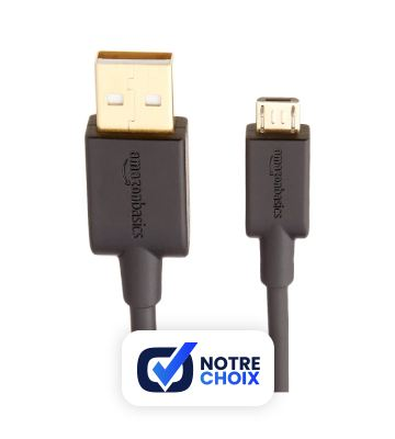 AmazonBasics Câble USB 2.0 A mâle vers micro B